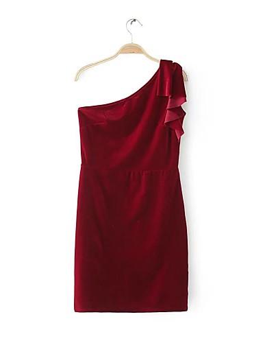 Damen Bodycon Hülle Kleid-Ausgehen Lässig/Alltäglich Solide Schulterfrei Übers Knie Ärmellos Baumwolle Andere Mittlere Hüfthöhe