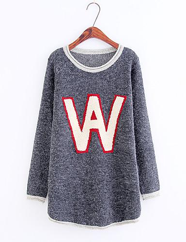 Damen Standard Pullover-Lässig/Alltäglich Ausgehen Druck Einfarbig Rundhalsausschnitt Langarm Baumwolle Polyester Andere Mittel Dünn