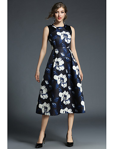 Damskie Linia A Sukienka swingowa Spódnica Sukienka - Kwiaty Wysoka Talia