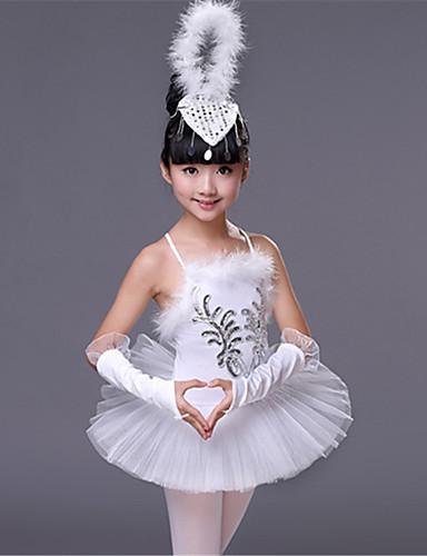 preiswerte Ballettbekleidung-Ballett Austattungen Leistung Elasthan Federn / Pelzl / Pailetten Ärmellos Hoch Kleid / Ärmel / Kopfbedeckung