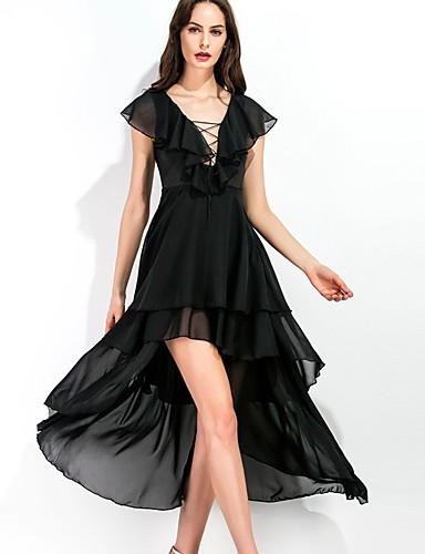 Damen Chiffon Swing Kleid-Party Ausgehen Sexy Street Schick Solide Tiefes V Midi Ärmellos Polyester Mittlere Hüfthöhe Unelastisch Dünn