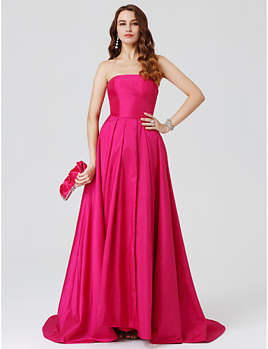 Ball Gown Strapless Sweep / Brush Train Taffeta Open Back Cocktail Party / Prom / Formal Evening Dress with Split Front / Pleats by TS Couture®
