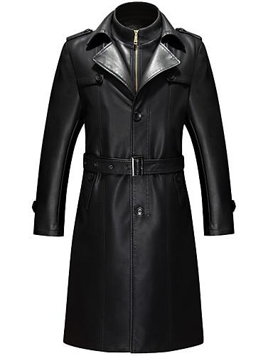 お買い得  メンズジャケット&コート-男性用 ロング レザージャケット - モダンシティ スタンド ソリッド / 長袖