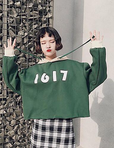 Damen Kapuzenshirt Festtage Einfarbig Baumwolle