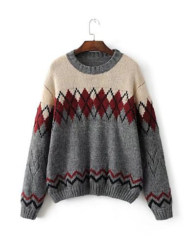 Damen Standard Pullover-Lässig/Alltäglich Einfarbig Rundhalsausschnitt Langarm Andere Mittel Dick Mikro-elastisch