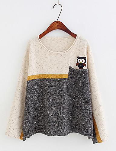 Damen Standard Pullover-Ausgehen Lässig/Alltäglich Solide Druck Einfarbig Rundhalsausschnitt Langarm Baumwolle Andere Dünn Mittel