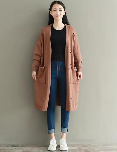Damen Lang Strickjacke-Ausgehen Lässig/Alltäglich Solide V-Ausschnitt Langarm Baumwolle Mittel Dick Mikro-elastisch