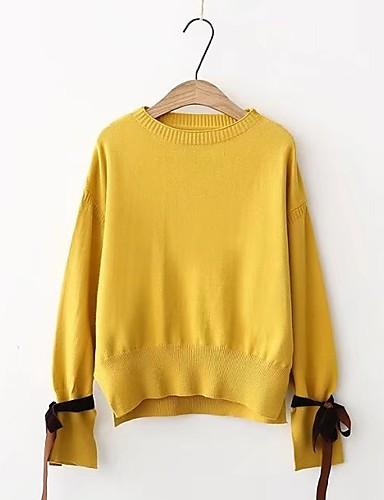 Damen Standard Pullover-Lässig/Alltäglich Ausgehen Solide Einfarbig Rundhalsausschnitt Langarm Andere Dick Mittel Mikro-elastisch