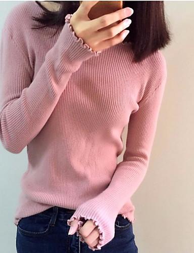 Damen Baumwolle Langarm Pullover - Solide / Herbst