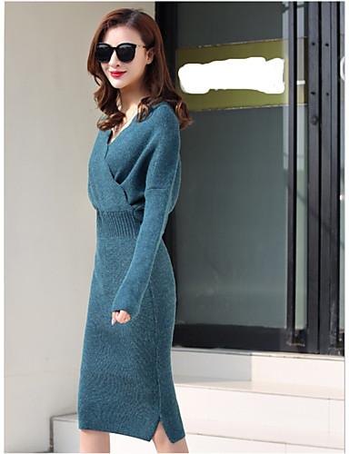 Damen Alltag / Ausgehen Baumwolle Hülle Kleid Solide Midi V-Ausschnitt Hohe Taillenlinie / Winter