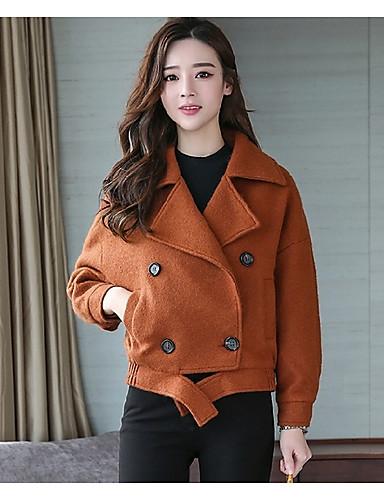 Damen Solide Street Schick Lässig/Alltäglich Kurz Jacke, V-Ausschnitt Winter Herbst Polyester