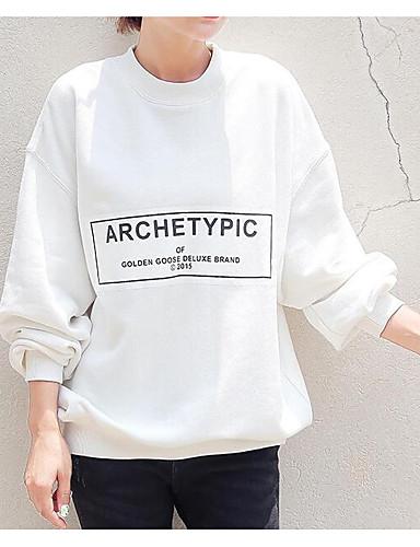 Damen Pullover Ausgehen Lässig/Alltäglich Solide Buchstabe Rundhalsausschnitt Mikro-elastisch Baumwolle Langarm Herbst Winter