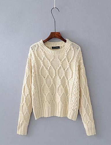 Damen Standard Pullover-Ausgehen Lässig/Alltäglich Solide Rundhalsausschnitt Langarm Wolle Baumwolle Andere Mittel Mikro-elastisch