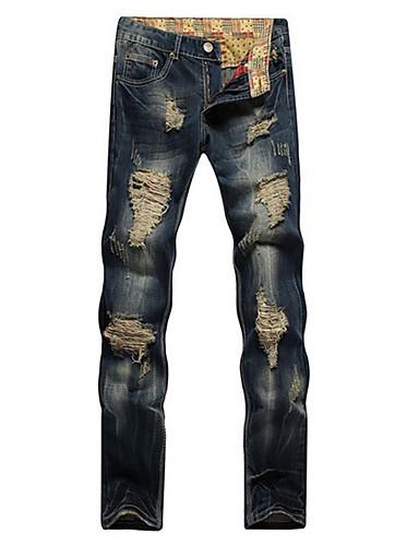 Męskie Len Jeansy / Typu Chino Spodnie - Podarte, Solidne kolory