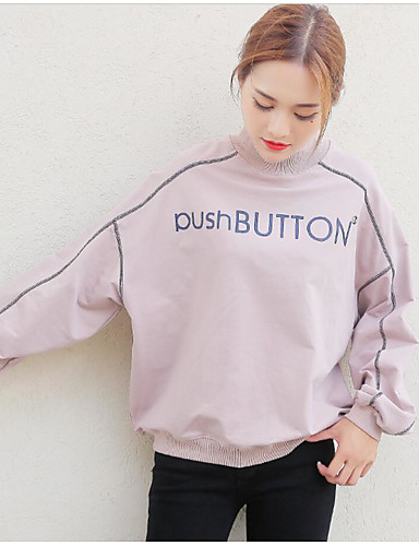Damen Pullover Alltag Druck Mikro-elastisch Baumwolle Polyester Elasthan Frühling Herbst