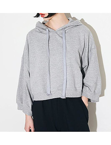 Damen Standard Pullover-Ausgehen Solide Rundhalsausschnitt Langarm Baumwolle Polyester Mittel Mikro-elastisch