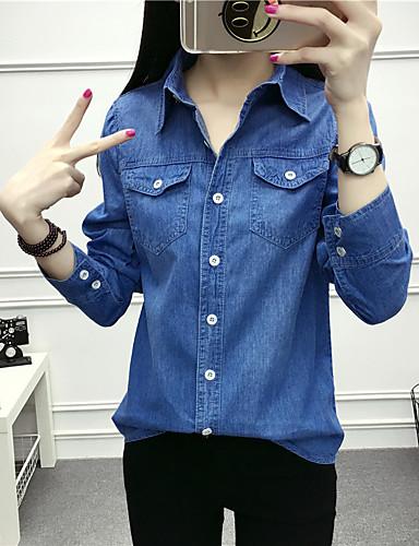 levne Dámské topy-Dámské - Jednobarevné Košile Bavlna Košilový límec Vodní modrá XL