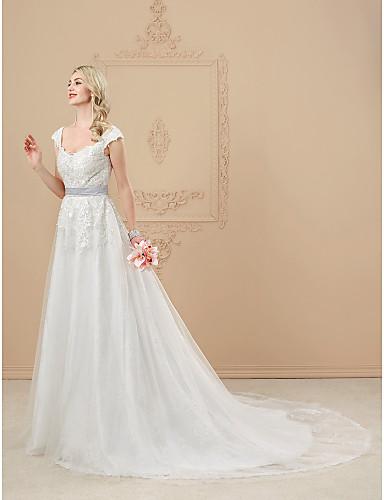 A-linje V-hals Katedralslep Blonder Tyll Bryllupskjole med Perlearbeid Appliqué Belte / bånd av LAN TING BRIDE®