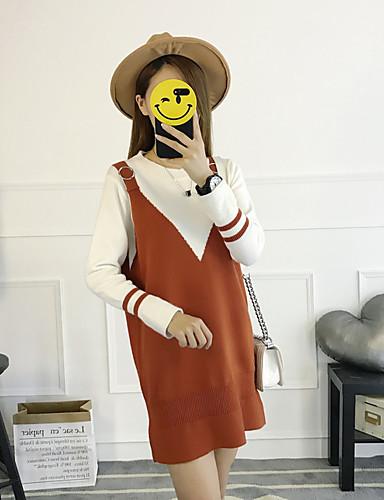 Damen Swing Kleid-Lässig/Alltäglich Solide Einfarbig Rundhalsausschnitt Knielang Langarm Baumwolle Polyester Herbst Hohe Taillenlinie