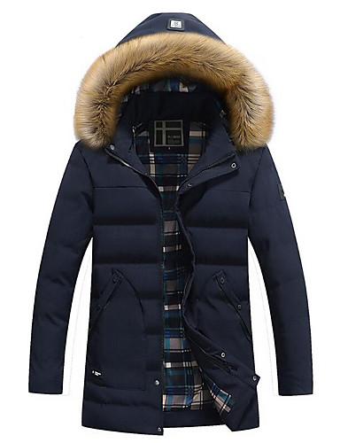 Herren Gefüttert Mantel,Standard Einfach Lässig/Alltäglich Übergröße Solide-Baumwolle Kunstseide Langarm