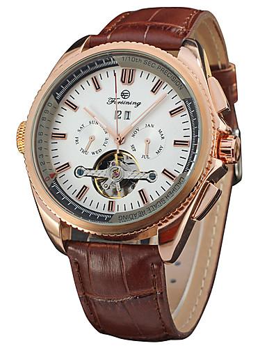 FORSINING Męskie Nakręcanie automatyczne Zegarek na nadgarstek Chiński Hollow Grawerowanie Stal nierdzewna Skóra Pasmo Vintage Do sukni /