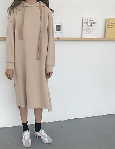 Damen Kapuzenshirt Ausgehen Übergröße Solide Mikro-elastisch Andere
