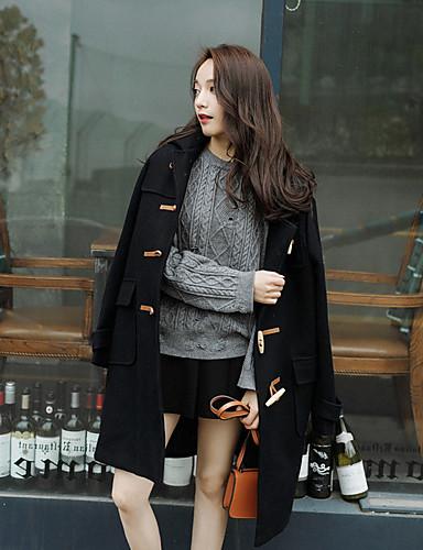Damen Solide Anspruchsvoll Alltag Mantel Winter Herbst Langarm Lang Polyester