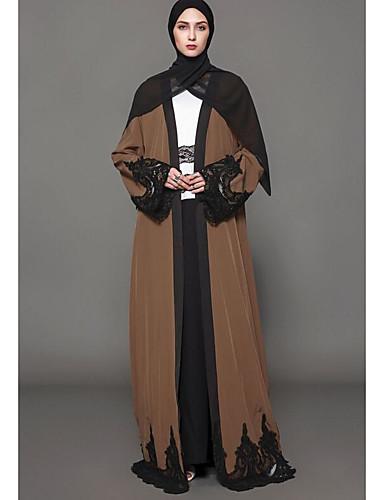 Damen Swing Kleid-Alltag Druck V-Ausschnitt Maxi Langarm 100% Polyester Herbst Mittlere Hüfthöhe Mikro-elastisch Undurchsichtig