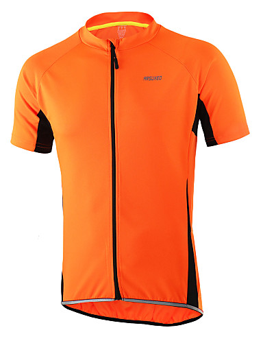 cheap Cycling Clothing-Arsuxeo Men's Short Sleeve Cycling Jersey Light Yellow Light Blue Dark Gray Solid Color Bike Jersey Top Breathable Quick Dry Anatomic Design Sports 100% Polyester Mountain Bike MTB Road Bike Cycling