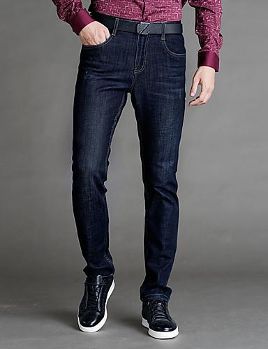 Herrn Street Schick Übergrössen Baumwolle Jeans Hosen Hose Solide