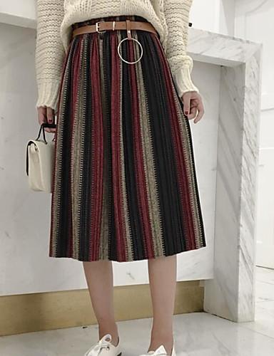 Damen Ausgehen Midi Röcke Muster Frühling