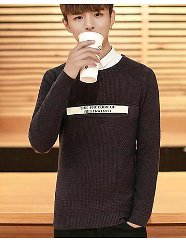 Herren Standard Pullover-Lässig/Alltäglich Solide Rundhalsausschnitt Langarm Baumwolle Mittel Mikro-elastisch