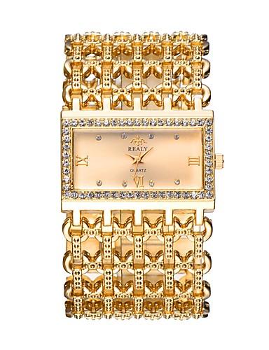 Damen Armbanduhr Quartz Transparentes Ziffernblatt Imitation Diamant Legierungmetall Band Analog Luxus Freizeit Armreif Silber / Gold / Rotgold - Gold Silber Rotgold