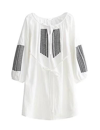 Damen Lose Kleid-Ausgehen Lässig/Alltäglich Stickerei Rundhalsausschnitt Übers Knie Langarm Baumwolle Andere Mittlere Hüfthöhe