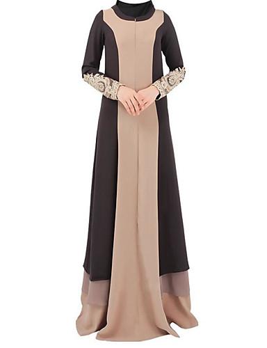 Damen Kaftan Kleid-Alltag Druck Rundhalsausschnitt Maxi Langarm 100% Polyester Herbst Mittlere Hüfthöhe Mikro-elastisch Undurchsichtig