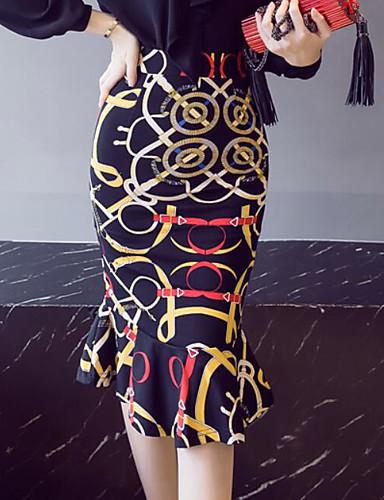 abordables Jupes-Femme Chic & Moderne Soirée Jupe & Robe / Moulante Jupes - Imprimé A Volants Taille haute Noir M L XL