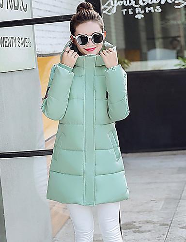Damen Gefüttert Mantel Freizeit Ausgehen Solide-Polyester Langarm