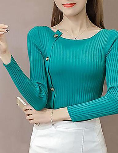 Damen Standard Pullover-Alltag Solide Rundhalsausschnitt Langarm Polyester Mittel Mikro-elastisch