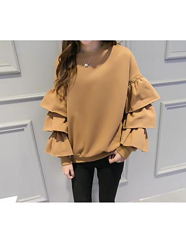 Damen Pullover Ausgehen Lässig/Alltäglich Niedlich Aktiv Solide Mikro-elastisch Baumwolle Andere