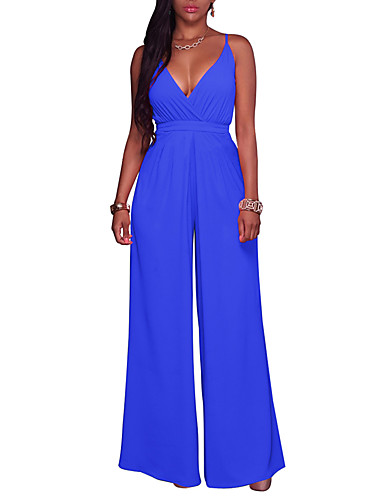 d5a458f66b4 Women s Wide Leg Going out Sophisticated Strap   Deep V Wine Army Green  Royal Blue Wide Leg Jumpsuit