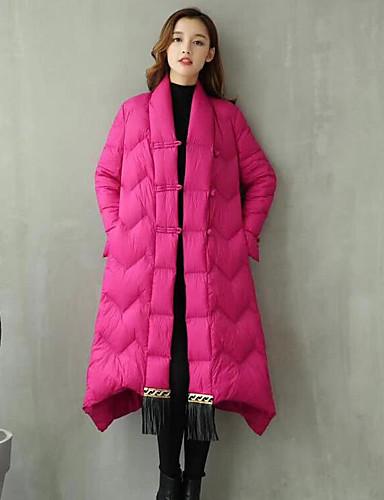 Damen Gefüttert Mantel Einfach Lässig/Alltäglich Solide-Polyester Langarm