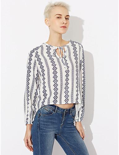 Damen Gestreift Ausgehen Hemd, Hemdkragen