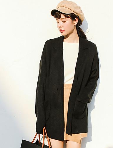 Damen Standard Strickjacke-Lässig/Alltäglich Solide V-Ausschnitt Langarm Acryl Mittel Mikro-elastisch