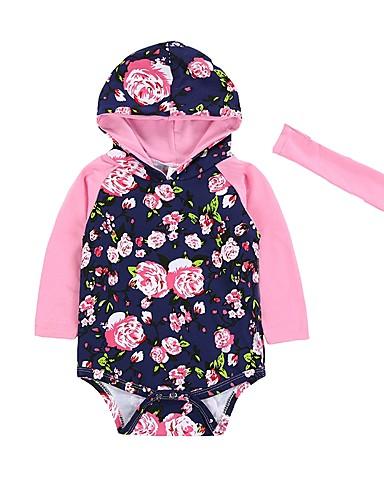 Dziecko Jednoczęściowe Bawełna Dla dziewczynek Kwiaty Zima Wiosna/jesień Długi rękaw Na co dzień Modny Niebieski