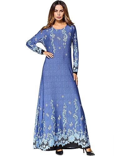 Damen Tunika Kleid Solide Blumen Maxi