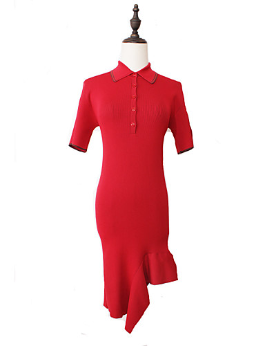 Damen Alltag / Ausgehen Baumwolle Hülle Kleid Solide Übers Knie Hemdkragen Niedrige Taillenlinie