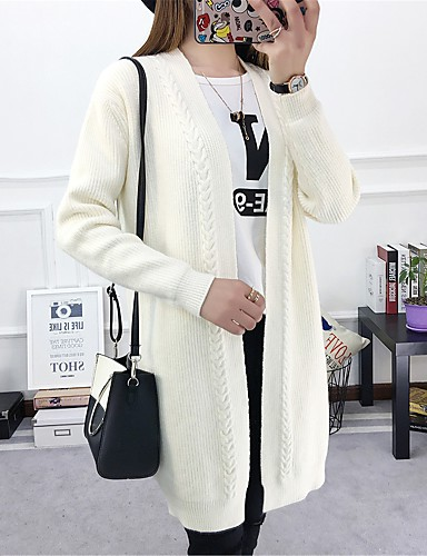 Damen Standard Strickjacke-Freizeitskleidung Solide V-Ausschnitt Langarm Polyester Winter Herbst Mittel Mikro-elastisch