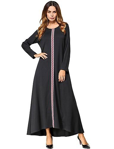 Damen Swing Kleid-Lässig/Alltäglich Solide Rundhalsausschnitt Maxi Langärmelige Baumwolle Alle Jahreszeiten Mittlere Hüfthöhe