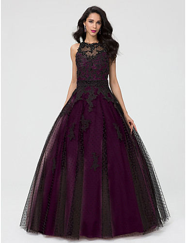cheap Quinceanera Dresses-Ball Gown Illusion Neck Floor Length Taffeta / Tulle / Beaded Lace Beautiful Back Prom / Formal Evening Dress with Beading / Appliques by TS Couture®