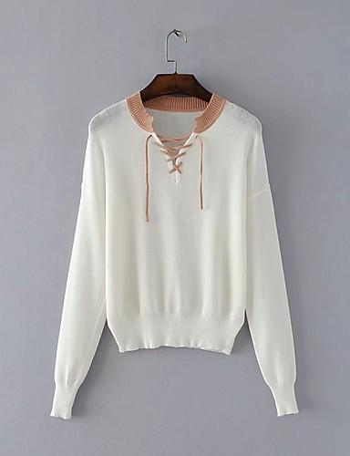 Damen Standard Pullover-Ausgehen Lässig/Alltäglich Solide Einfarbig V-Ausschnitt Langarm Baumwolle Andere Dünn Mittel Mikro-elastisch